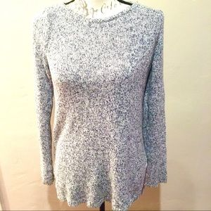 Ann Taylor Gray and White Knit High Low Sweater